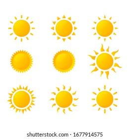 sun icon set isolated on white background. vector illustration.