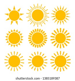 Sun icon set. Isolated vector symbol.
