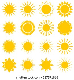 Sun icon set on white background. Vector Illustration