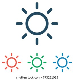 Sun icon set - simple flat design isolated on white background, vector