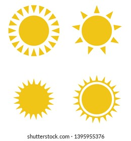 Sun icon set. For summer, nature, sky, summer. Sun silhouette.