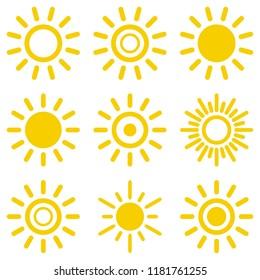 Sun icon set. Suns icon collection