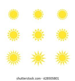 Sun icon set. Vector illustration.