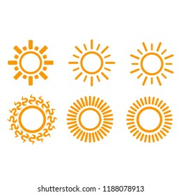 sun icon set vector isolated on white background - forecast icon