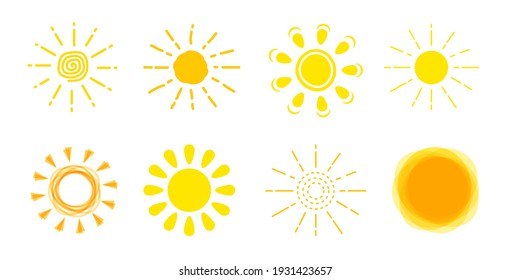 Sun icon set. Yellow sun sign collection. Summer, sunlight, nature, sky. Vector illustration isolated on white background. Funny vector doodle suns. Hand drawn set.