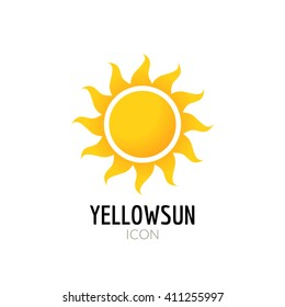 Sun icon sign. Icon or logo design with yellow sun.