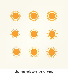 Sun icon - Sunny icon vector in outline flat color icon set style. Vector illustration.