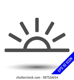 Sun icon. Sunset icon. Flat icon of sun. Sun EPS. Vector illustration.