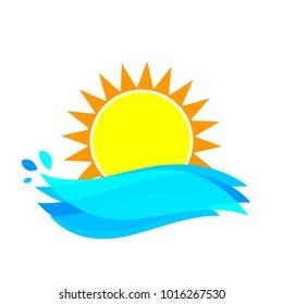 Sun icon, symbol design template, big waves, vector illustration