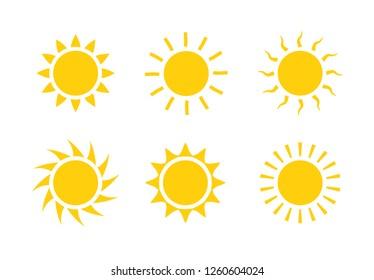 Sun icon symbol illustration, Sunlight design weather. Flat sunshine isolated set of sun logo.
