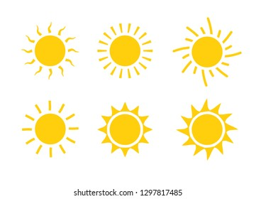 Sun icon symbol illustration, Sunlight design weather. Flat sunshine isolated set of sun logo.