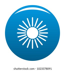 Sun icon vector blue circle isolated on white background