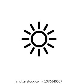 Sun icon vector. Brightness icon. Summer icon. Sun logo illustration on white background.