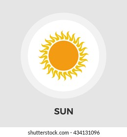 Sun Icon Vector. Flat icon isolated on the white background. Editable EPS file. Vector illustration.