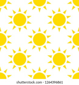 The sun icon, vector illustration. Yellow silhouette on a white background. Flat style. seamless pattern, background.