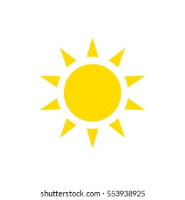 The sun icon, vector illustration. Yellow silhouette on a white background. Flat style.