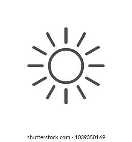 Sun icon vector. Line summer symbol. Trendy flat outline ui sign design. Thin linear graphic pictogram for web site, mobile application. Logo illustration. Eps10.