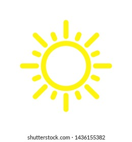 Sun Icon Vector, Summer sun icon, vector illustration, Yellow silhouette on a white background. Flat style
