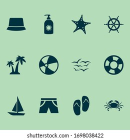 Sun icons set with ball, shorts, lifebuoy and other beach sandals elements. Isolated vector illustration sun icons.