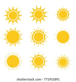 Sun icons set. Flat design. Vector.