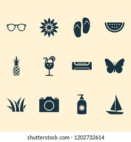 Sun icons set with grass, boat, butterfly and other lemonade elements. Isolated vector illustration sun icons.
