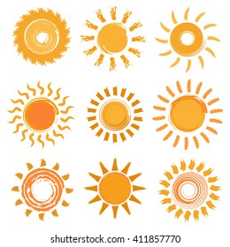 Sun icons set. Hand drawn illustration. Vector illustration.