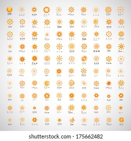Sun Icons Set - Isolated On Gray Background - Vector Illustration, Graphic Design Editable For Your Design