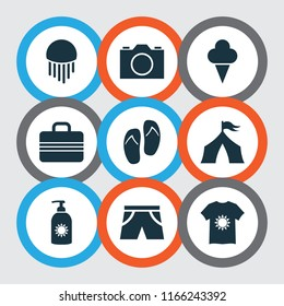 Sun icons set with sunscreen, suitcase, flip flop and other video elements. Isolated vector illustration sun icons.