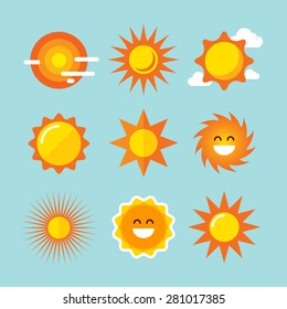 Sun icons set. Vector graphic design elements.