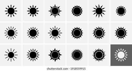 Sun Icons set. Vector illustration sun rays