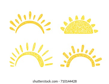 Sun Icons Vector Set. Hand drawn doodle Different Yellow Suns