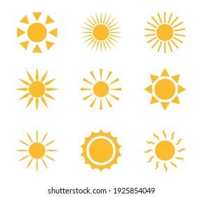 Sun icons. Sun yellow symbol set. Vector flat icon.