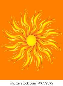 Sun illustration on orange background.