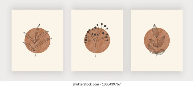 Sun with leaves wall art print. Boho mid century design posters