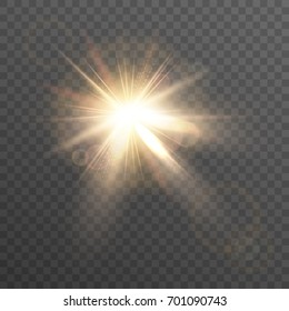 Sun. Lens flare. Isolated light effect on a transparent background.