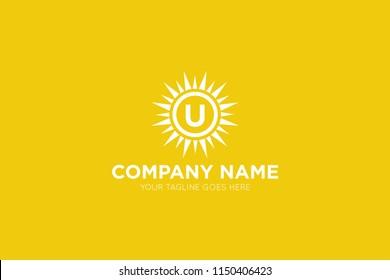 sun letter u logo, icon, symbol