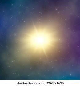 Sun light. Abstract bright star in space. Dark astral fantasy background. Vector illustration