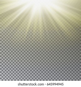 Sun light vector. rays effect isolated on transparent background. Realistic Starburst illustration.