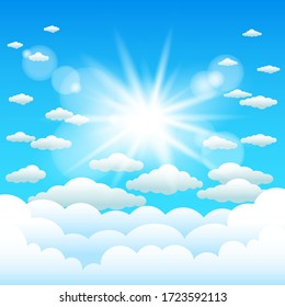 Sun lights and cartoon clouds blue sky. Sunshine cloud template. Realistic sunlight effect