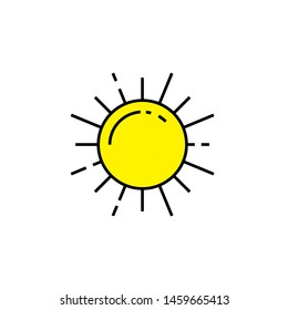 Sun line icon. Yellow sunlight symbol. Sunshine sign. Vector illustration.