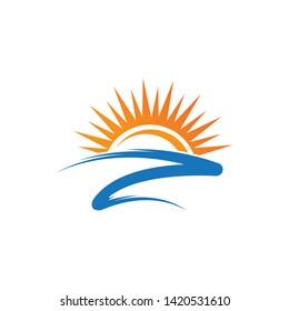 Sun logo design template - Vector