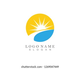sun logo light icon - Vector