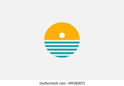 Sun logo. Sea and sun logo. Ocean logo
