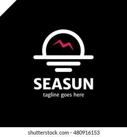 sun Logo with seagulls. Simple line travel logotype with bird