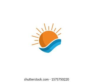 Sun logo summer wave vector