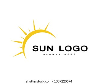 Sun logo and symbols Vector illustration