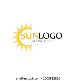 sun logo vector with shine bright template