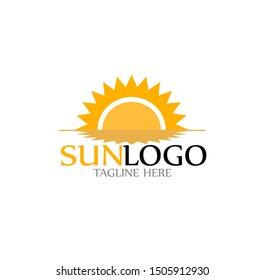 sun logo vector with shine bright template
