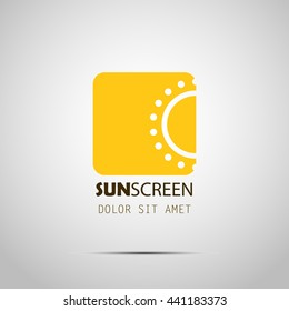 Sun logo. Vector. Sunscreen cosmetic logo design with sun icon. Logotype concept. Fabric print. EPS 10.