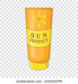 Sun lotion icon. Cartoon illustration of sun lotion vector icon for web design